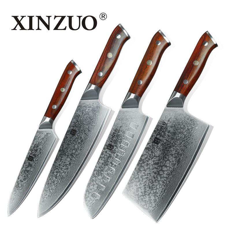 XINZUO 4 stücke küchenmesser set damaststahl küchenmesser set edelstahl küchenchef universalmesser palisander griff kostenloser versand