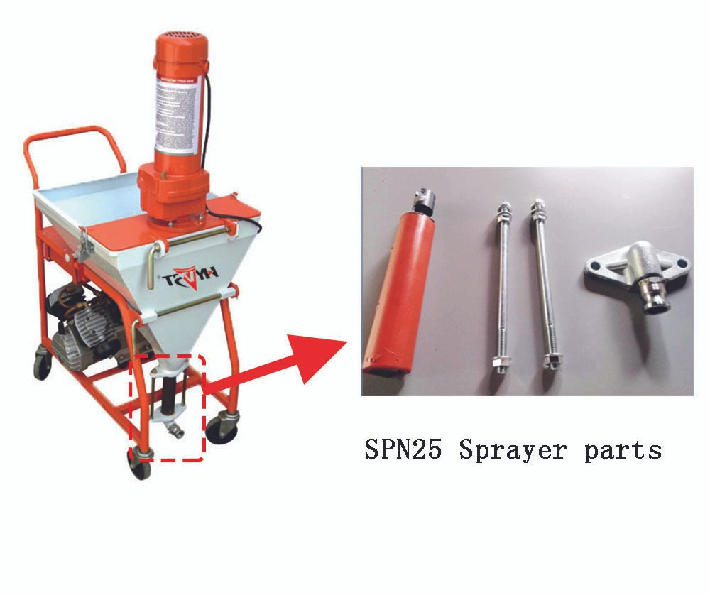 SPN25 Pump Sprayer parts Outlet rod core. A set of two long screws and Lower connector for Putty Cement Mortar Transfer Sprayer