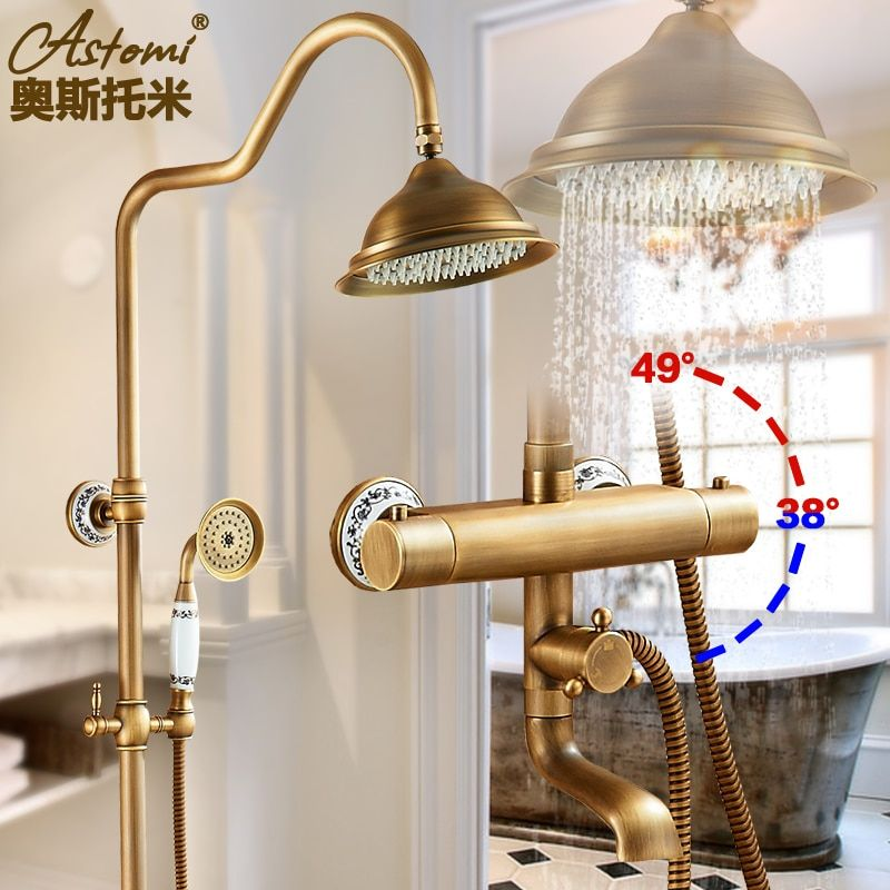 Antique Brass Shower Bath Faucet Sets Constant Temperature Mixer Valve Wall Mounted Exposed 8