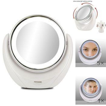 Maquillage Miroir 5X Loupe Double côté avec 10 LED Ampoules pour Cosmétiques et Soins de La Peau, poli Chrome