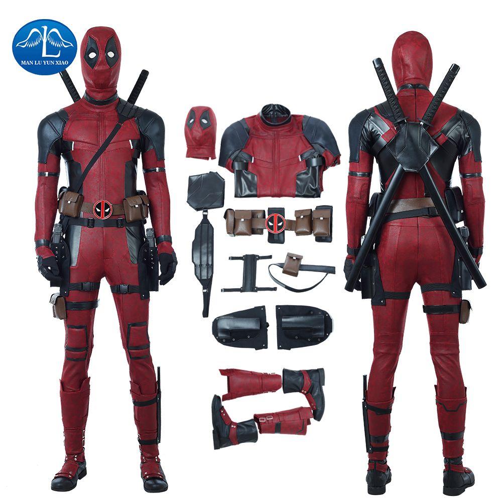MANLUYUNXIAO New Men's Deadpool 2 Costume Updated Version Halloween Carnival Deadpool Cosplay Costume For Men Custom Made