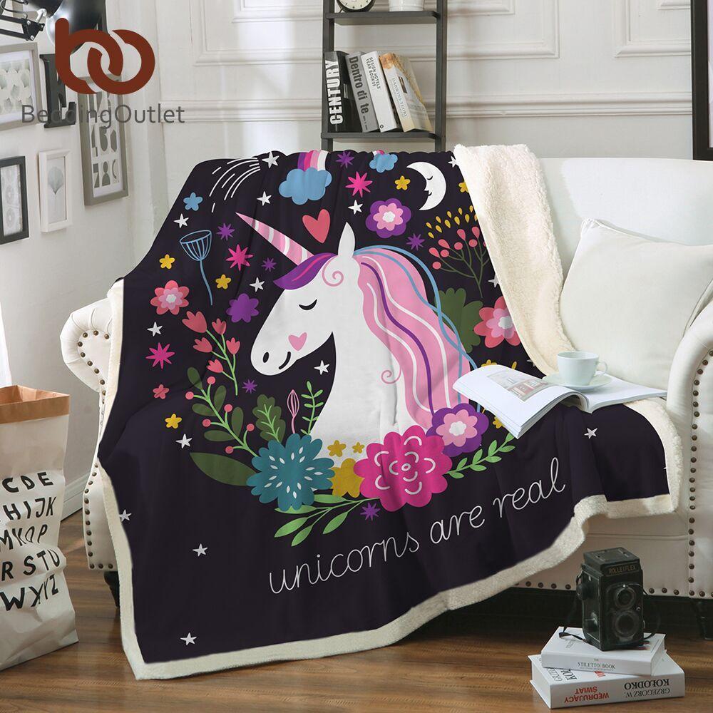 BeddingOutlet licorne jeter couverture Floral Cartoon Sherpa couverture pour enfants fille canapé doux en peluche couvre-lits mince couette livraison directe