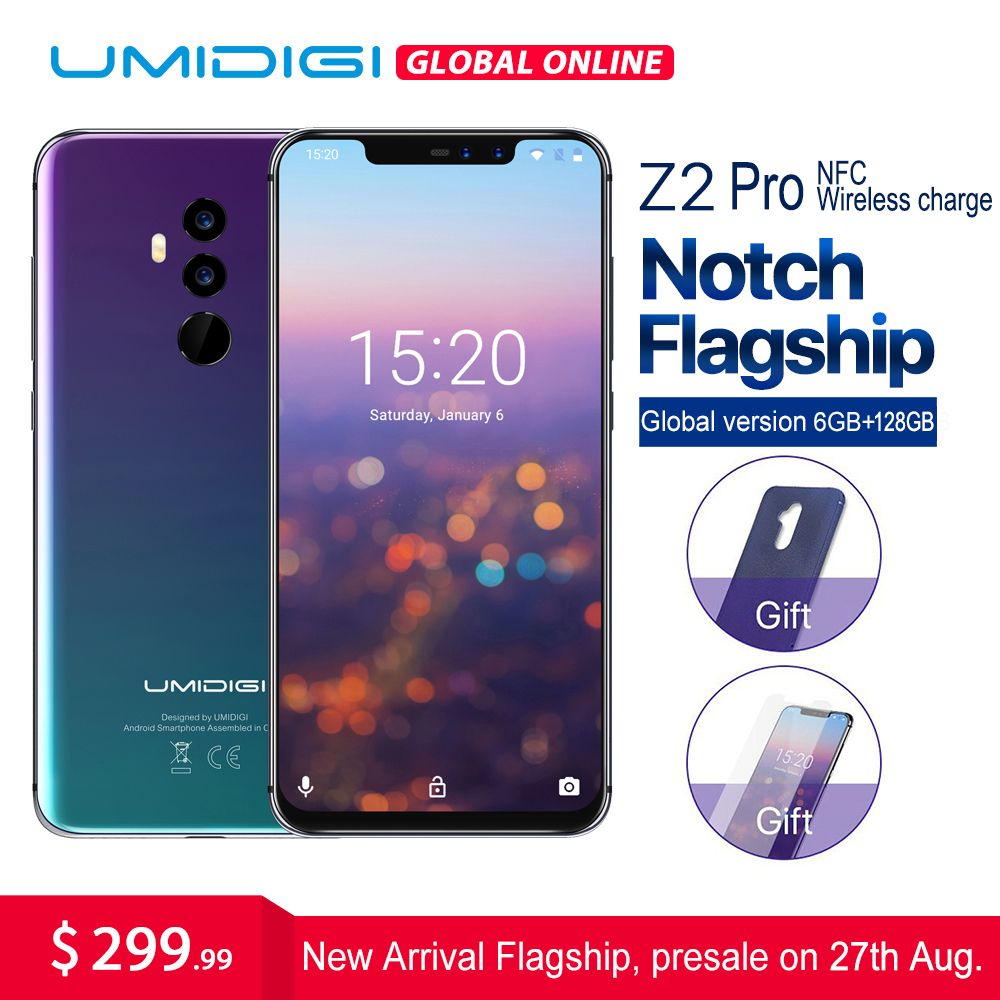 UMIDIGI Z2 Pro 6,2 Full screen smartphone Android 8.1 6 gb + 128 gb Helio P60 16MP Quad Objektiv 4g LTE NFC Drahtlose lade handy
