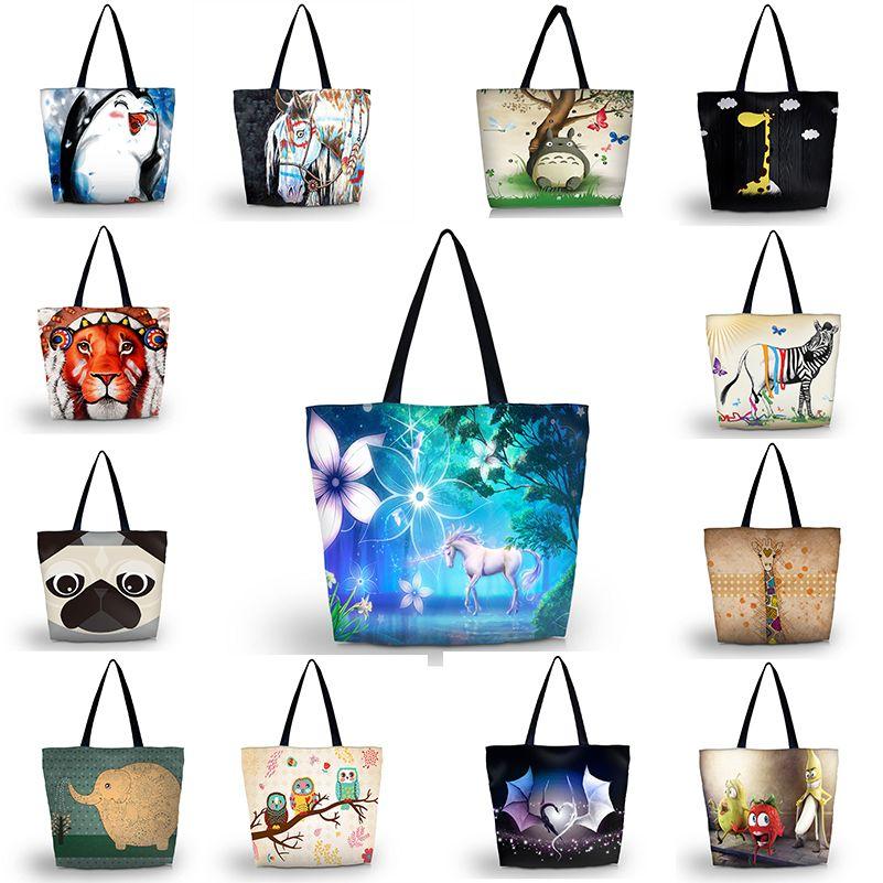 Cute Prints Women's Shopping Bag Lady's Foldable Handbag Shoulder Bags Beach Bag PVC Soft Fashion Zipper Hand Totes for Summer