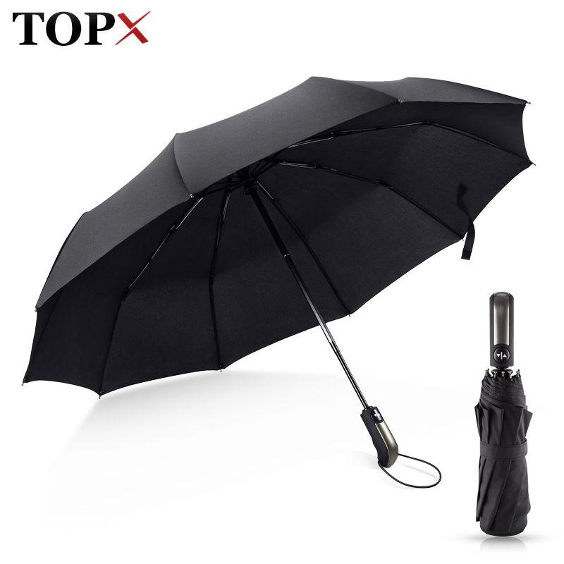 Résistant au vent Pliage parapluie automatique Pluie Femmes Automatique De Luxe Grand Coupe-Vent Parapluies de Pluie Pour Hommes Noir Revêtement 10 K Parasol