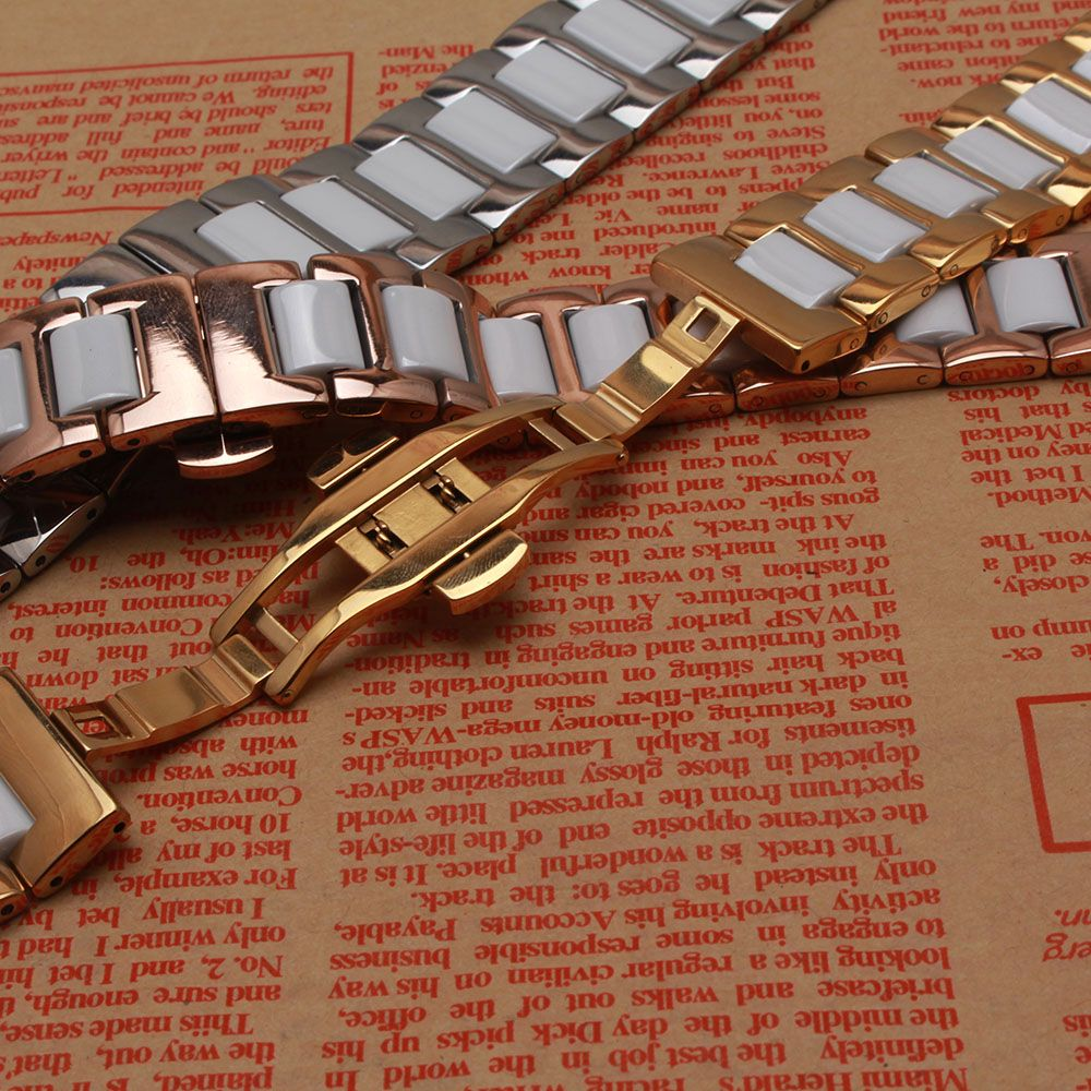 14MM 16mm 18mm 20mm 22MM Ceramic and Stainless Steel Watchband Rose gold SILVER white watch band strap Butterfly Buckle CLASP
