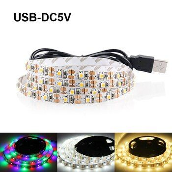 USB LED Light Strip DC5V SMD3528 RGB LED Bande Flexible LED Lumières 3 touches Mini À Distance 50 CM 1 M 2 M 3 M 4 M 5 M TV Fond Éclairage