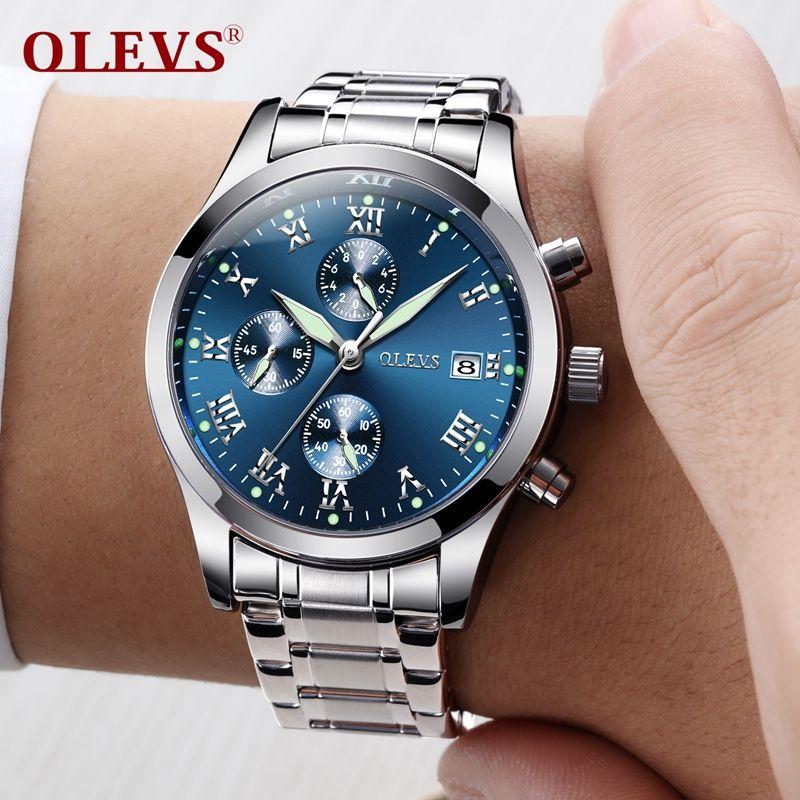 OLEVS Original Watch Men Sport Quartz Male Watches Luminous Wristwatch Auto Date Time Hour Clock Reloj Hombre Mens Steel Watches