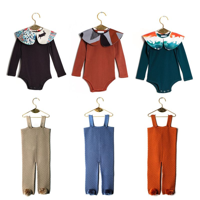 BOBOZONE 2018 F/W Long-sleeved Bodysuit with Removable Collar  Jumpsuit with Straps and Pompom