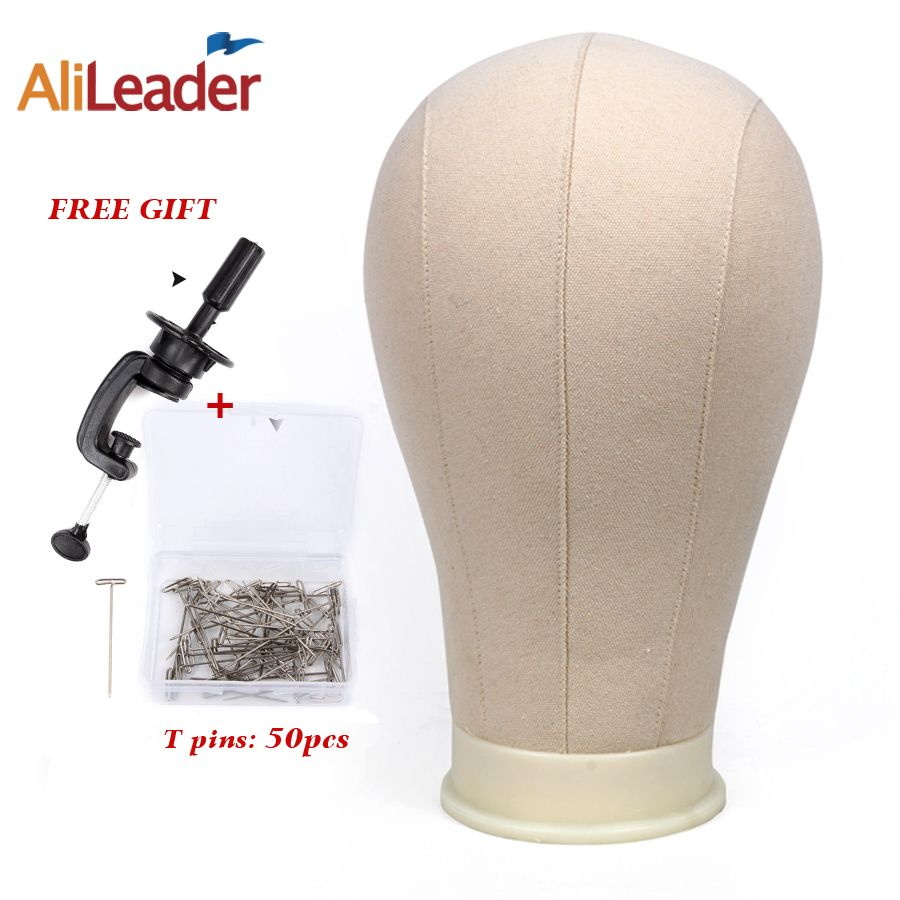 Alileader Training Mannequin Head Canvas Block Head For Hair Extension Lace Wigs Making And Display Styling 21