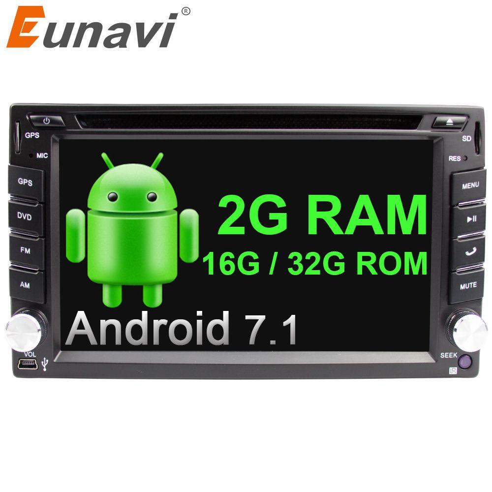 Eunavi Quad Core Universal Autoradio Multimedia 2 Din Android 7.1 Car Radio Dvd Player Stereo Gps 2g Ram+wifi+bluetooth In Dash