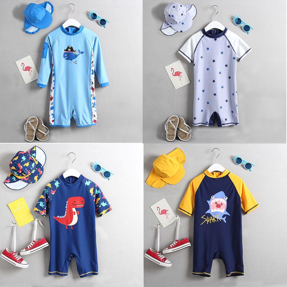 1-3 T Baby Bademode Ein Stück Infant Baby Jungen Badeanzug Cartoon Neugeborenen Kinder Badeanzug Sonne Geschützt Kinder strand Pool Tragen