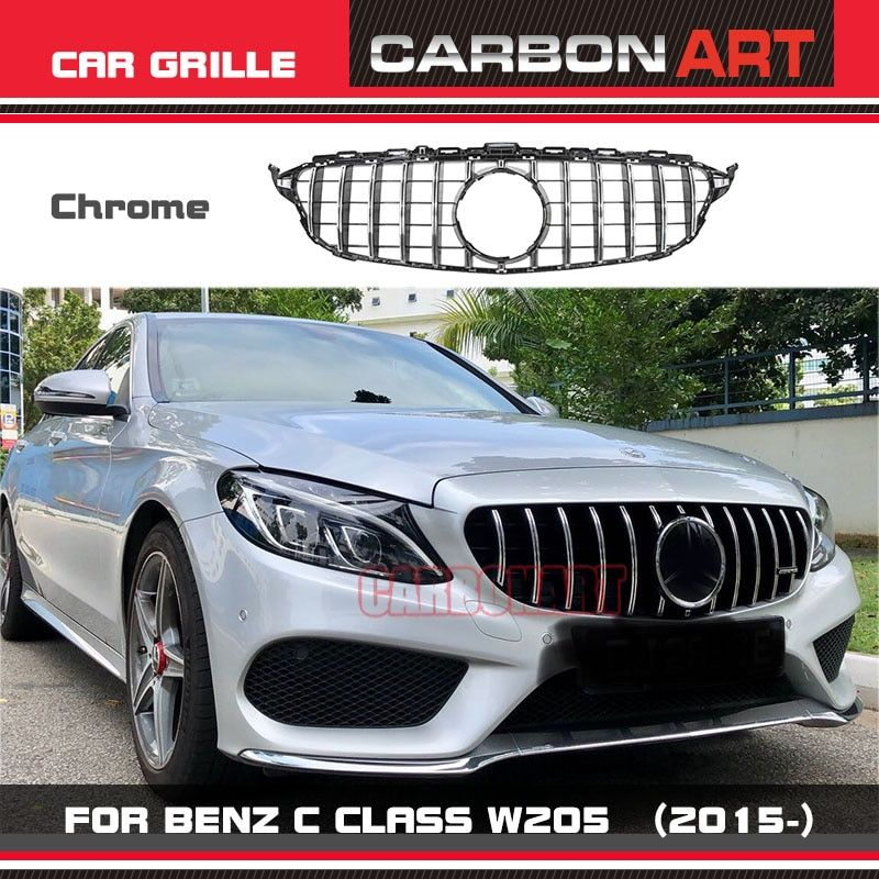 Carbonart C Class W205 AMG GT R GTR ABS Silver Front Bumper Mesh Grill Grille Fit For mercedes W205 C200 C300 Sports No Camera