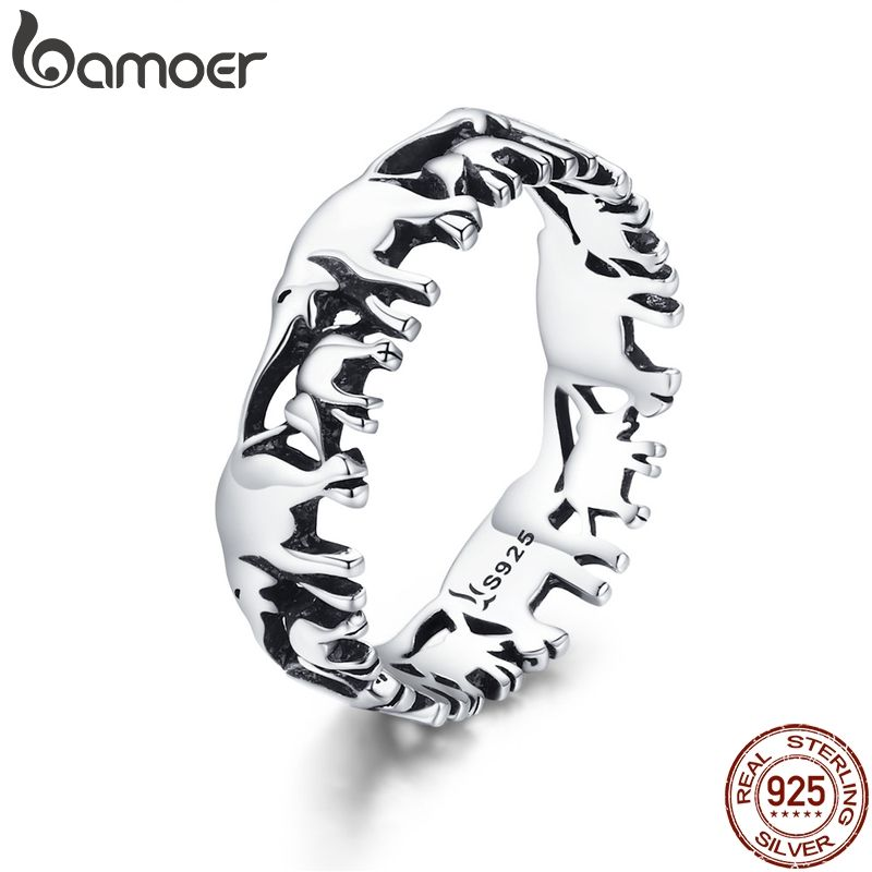 BAMOER Trendy 100% 925 Sterling Silver Stackable Animal Collection Elephant Family Finger Rings for Women Silver Jewelry SCR344