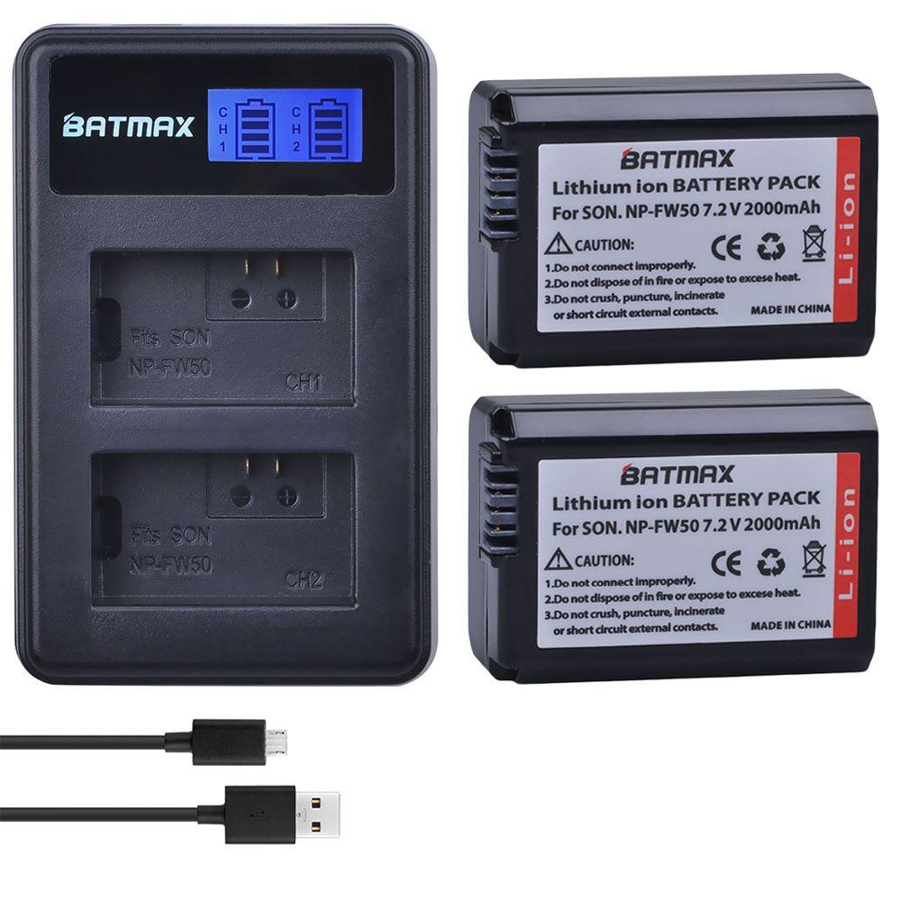 2 pcs 2000 mAh NP-FW50 NP FW50 Batterie D'appareil Photo + LCD USB Double chargeur pour Sony Alpha a6500 a6300 a6000 a5000 a3000 NEX-3 a7R