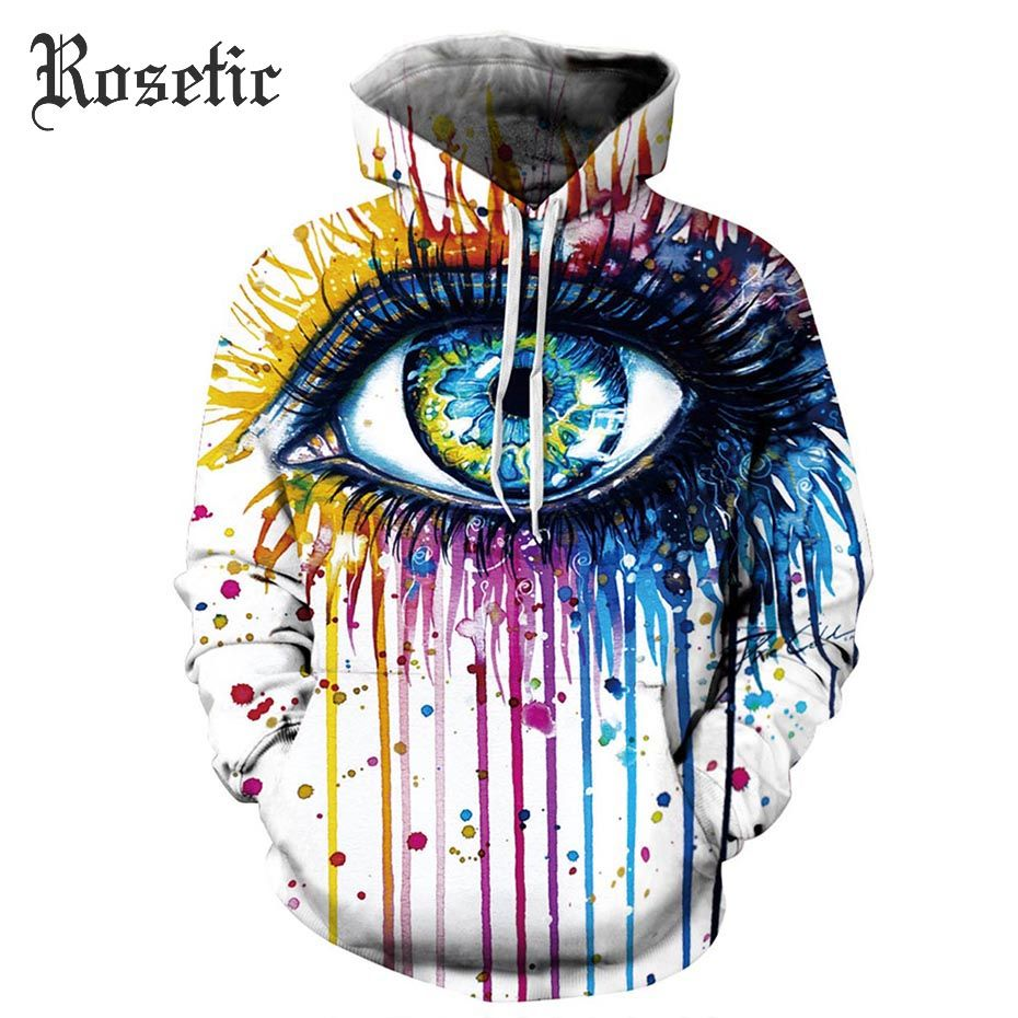 Rosetic Pastel Goth Hoodies White Loose Pocket Print Hand Painted Women Spring Tops Fashion Rock Street Gothic Casual Hoodies