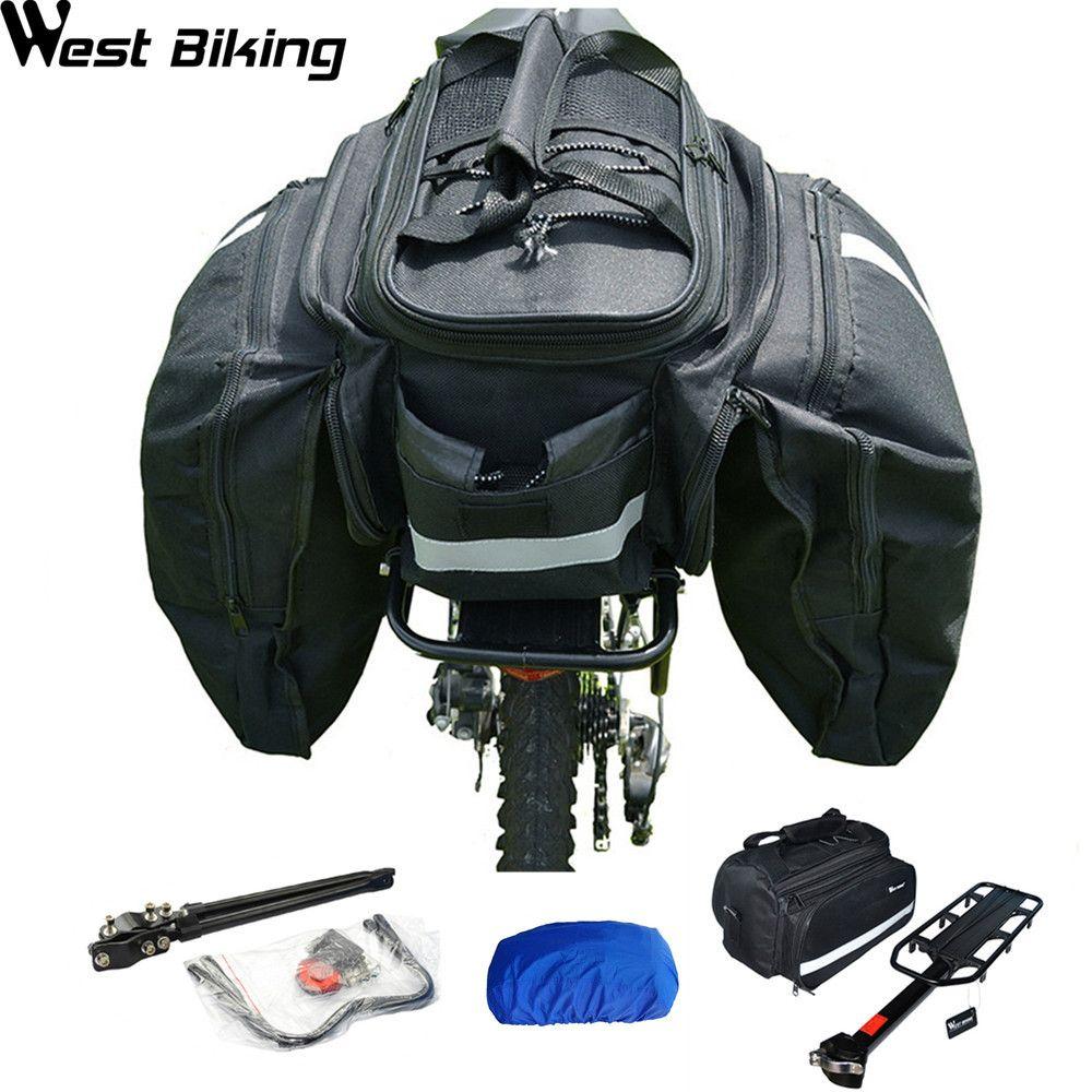 West Radfahren MTB Radfahren Tasche Hinten Regal Regenschutz Inneren Fahrrad festigkeit Disc v-brake Bike Back Rack + Tasche + regen Abdeckung Bicicleta Set