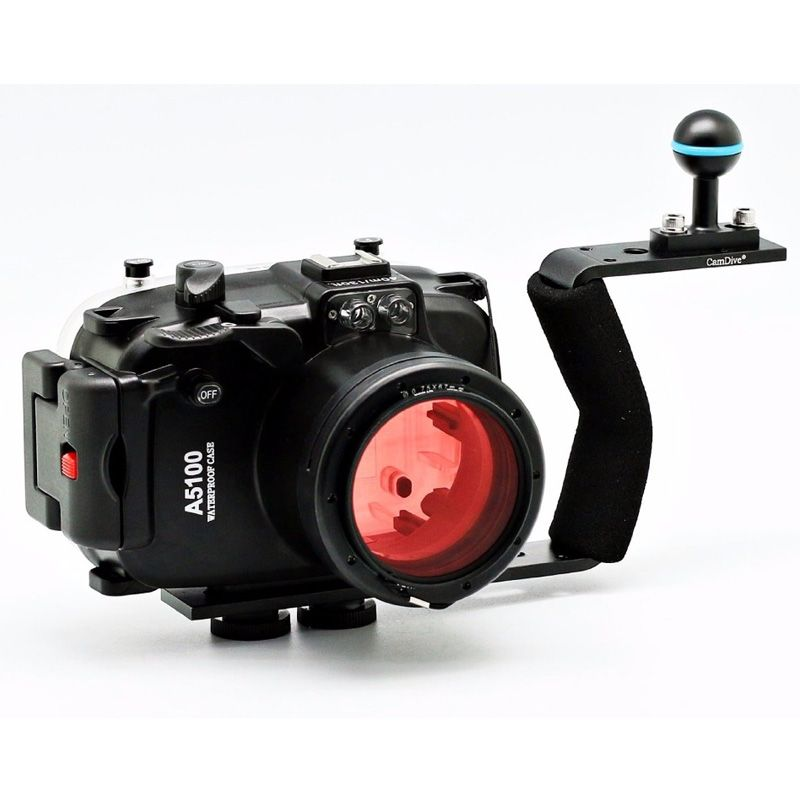 Waterproof Underwater Camera Housing Hard Case for Sony A5100 16-50mm Lens + 67mm Red Filter + Aluminum Handle / Arm