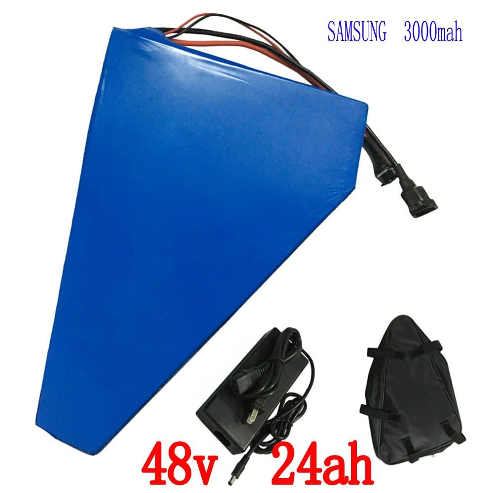 48V 1000W Triangle battery 48V 24AH electric bike battery 48v 25ah Lithium Battery Pack with 30A BMS+54.6V 2A charger +bag