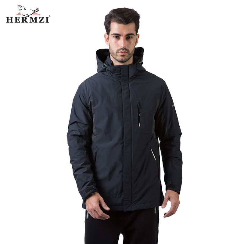 HERMZI 2018 New Collection Men Fashion Jacket Coat Men Windbreaker Padded Jacket Patchwork Detachable Hood European Size 4XL