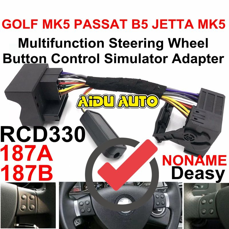AIDUAUTO RCD330 MIB RCD510  Multifunction Steering Wheel Button Control Simulator Adapter For VW Golf 5 6 Jetta MK5 Touran Caddy