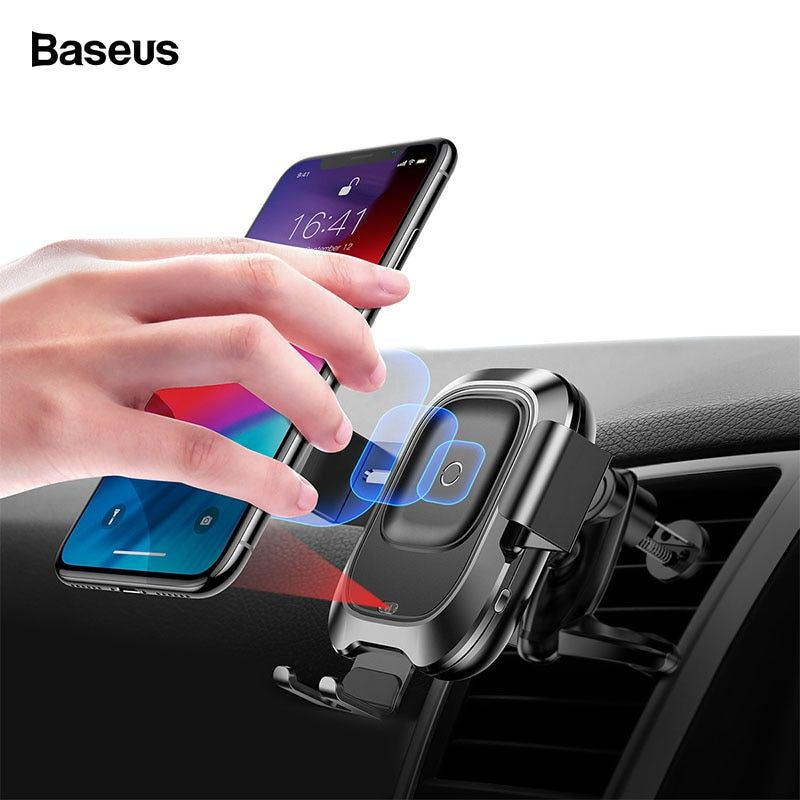 Baseus Infrared Wireless Car Charger For iPhone XS XR Samsung S9 Fast QI Wireless Charger Air Vent Mount Car Phone Holder Stand