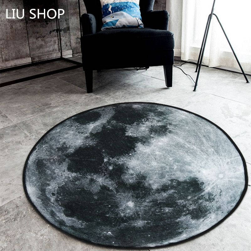LIU Nordic trend round suede carpet living room bedroom mat Planet earth moon rug bath fashion 60/80/100/120/150/180cm