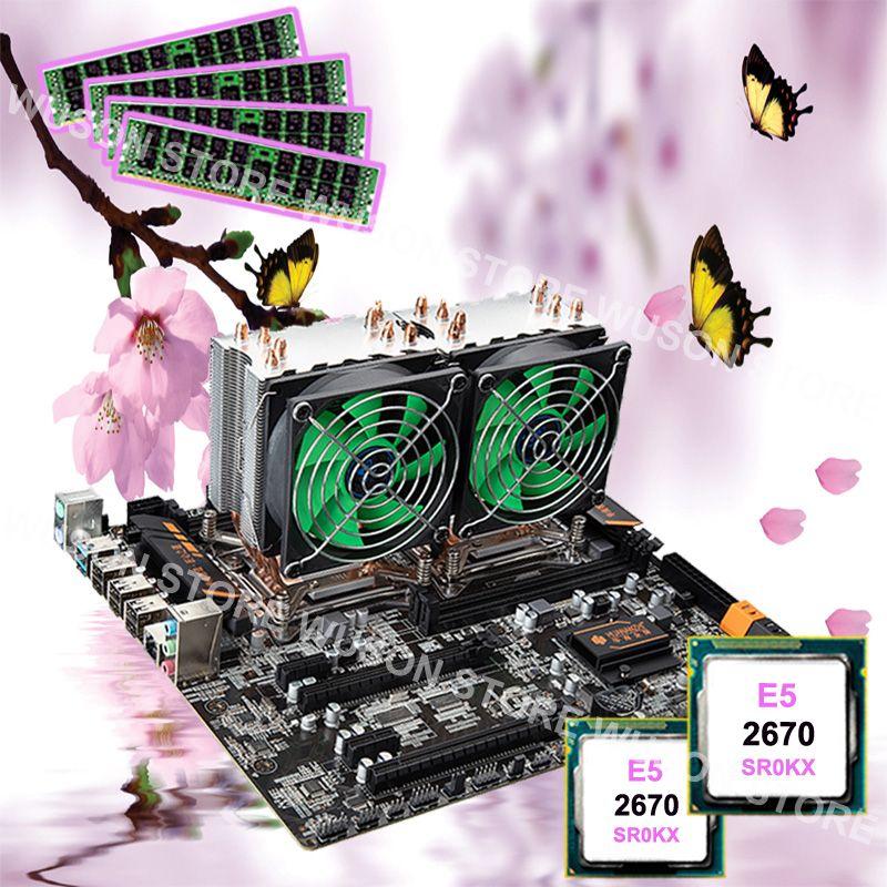 Best mobo with CPU RAM HUANAN ZHI X79 dual CPU motherboard dual Intel Xeon E5 2670 C2 2.6GHz with coolers 4*8G DDR3 1600 REG ECC