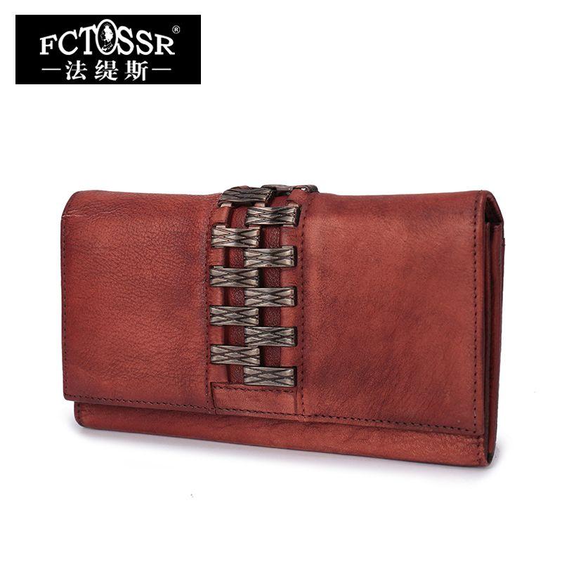 Cartera de cuero las mujeres 2018 vintage Cuero auténtico embrague bolso hecho a mano titular de la tarjeta larga señora Carteras
