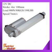 12 В 100 мм 4 дюйма регулируемый ход 900N 198LBS нагрузки 7 мм/сек. 0,28 inch/s скорость мини промышленности тяжелых линейный привод SL14 Лидер продаж