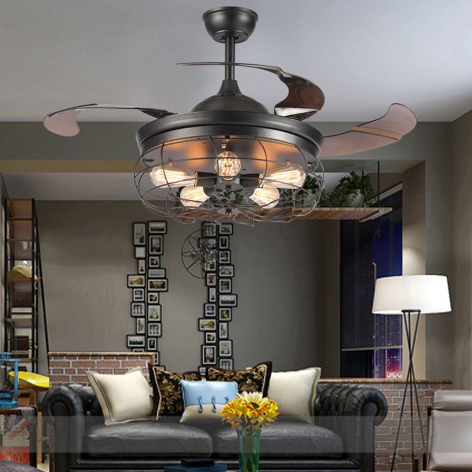 led e27 Loft Stainless Steel Acryl Ceiling Fan LED Lamp.LED Light.Ceiling Lights.LED Ceiling Light.Ceiling Lamp For Foyer Store
