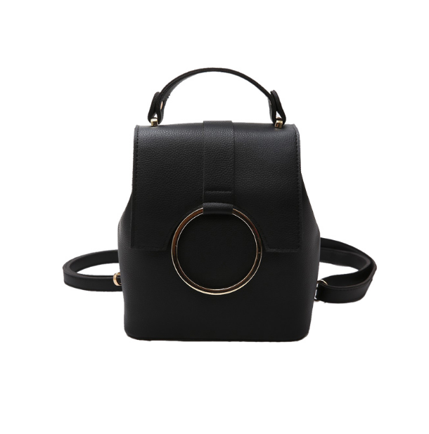 New Classical Women PU Leather Backpacks Simpl Mini Korean Style School Bag For Girls Female Backpack With Fashion Iron RingL139