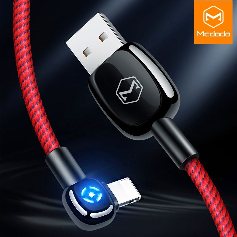 Mcdodo Auto Disconnect LED lighting For lightning Charger Cable USB Cord Fast Charging Data Cable For iPhone XR XS Max 8 7 Plus