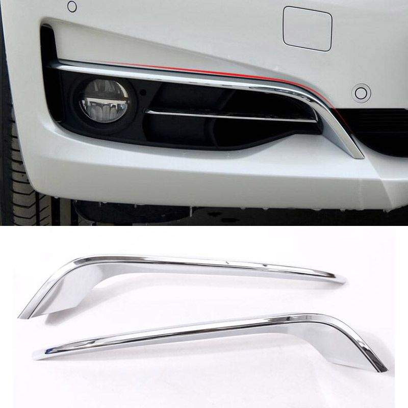 For BMW 3 Series GT Gran Turismo F34 2013-2017 ABS Chrome Front Fog Lamp Strips EyeLid Trim Set of 2pcs Car Accessories