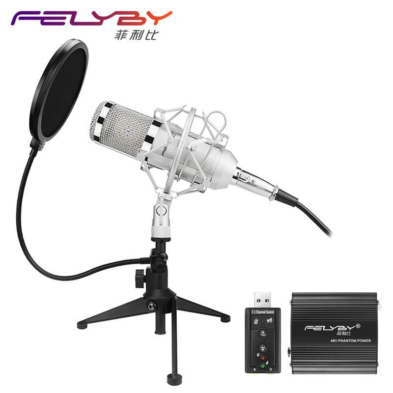 FELYBY Professionnel BM 800 microphone À Condensateur Pro audio studio vocal enregistrement Karaoké De Bureau micro 48 V alimentation fantôme Filtre
