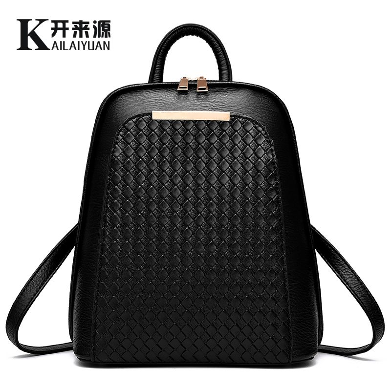 KLY 100% Genuine leather Women backpack 2018 New Tide female backpack spring summer students fashion casual Korean women bag