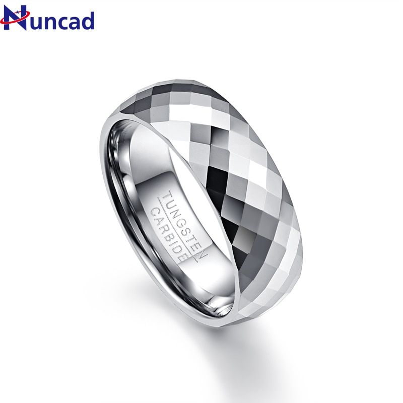 Nuncad Men's 7.5mm Multi-faceted High Polished Domed Tungsten Carbide Wedding Band Rings Comfort Fit Size 7-12