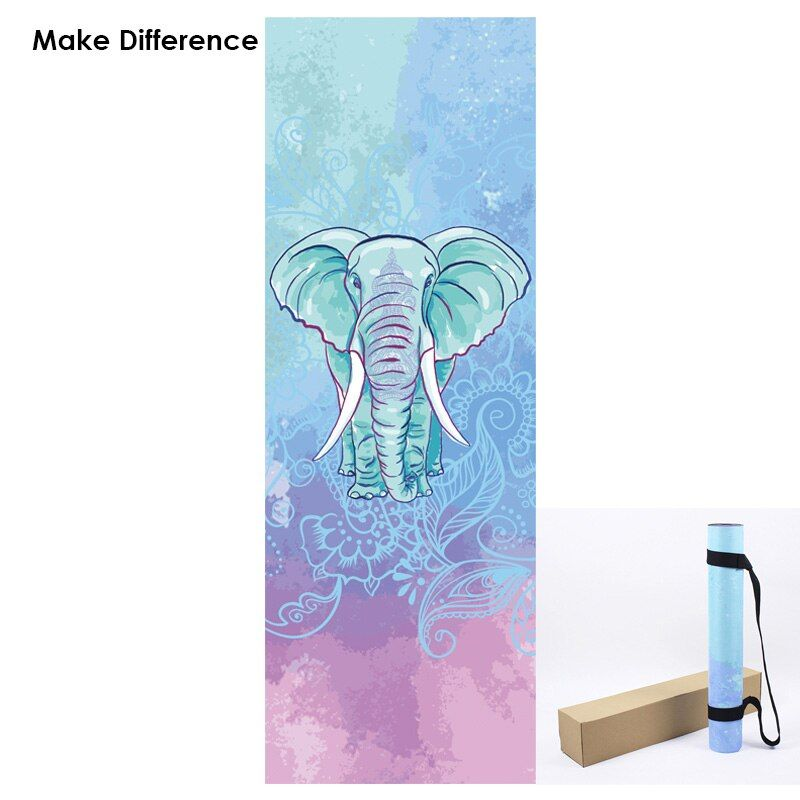 Make Difference Wise Elephant Print Yoga Mats Natural Rubber Fitness Mats Eco-friendly Carpets for Outdoor Yoga 183cm*61cm*3.5mm