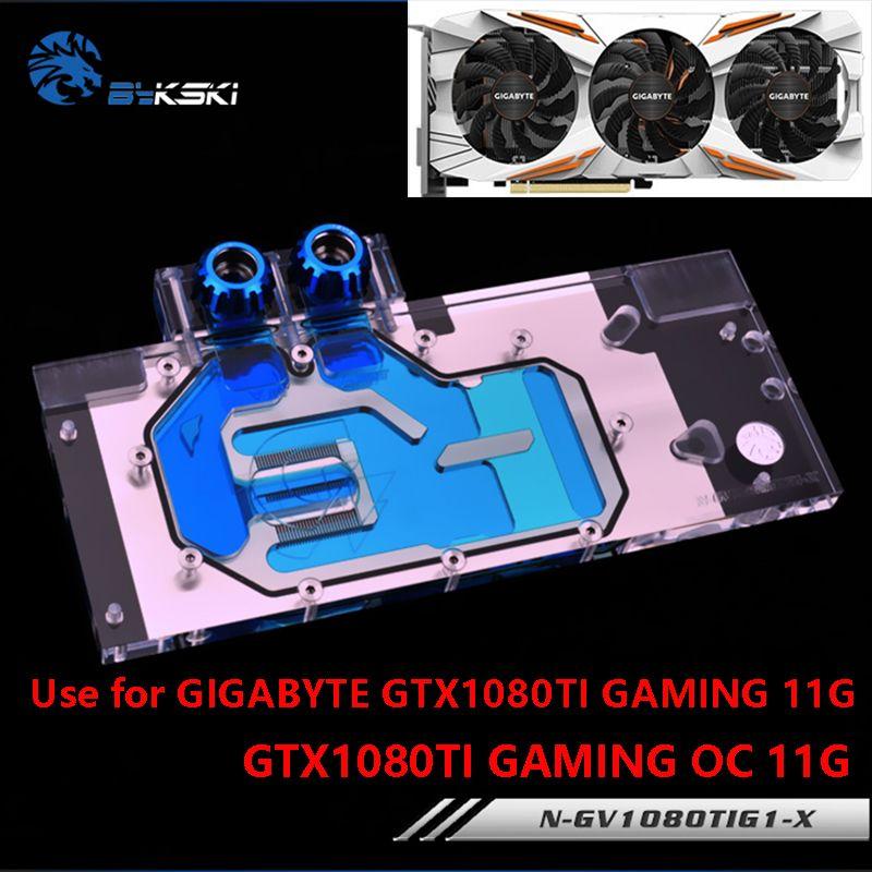 BYKSKI bloc d'eau utilisation pour GIGABYTE GTX1080Ti-Gaming-OC-11G/GTX1080TI-GAMING-11G/GV-N108TTURBO-11GD bloc de cuivre à couverture complète