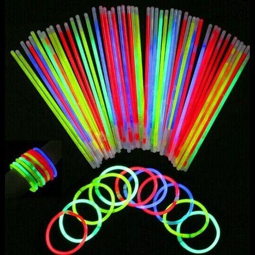 50 Pcs Glow Sticks Bracelets Necklaces Fluorescent Neon Party Wedding Decal