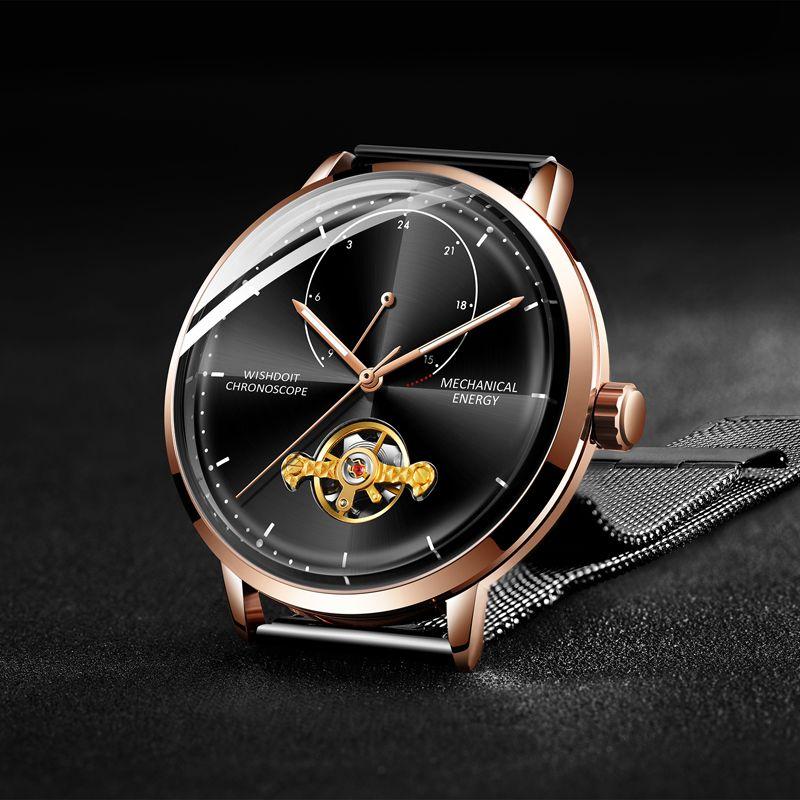 Relogio Masculino WISHDOIT Uhr Männer Luxus Marke Tourbillon Automatische Mechanische Uhren Männer Casual Business Wasserdichte Uhr