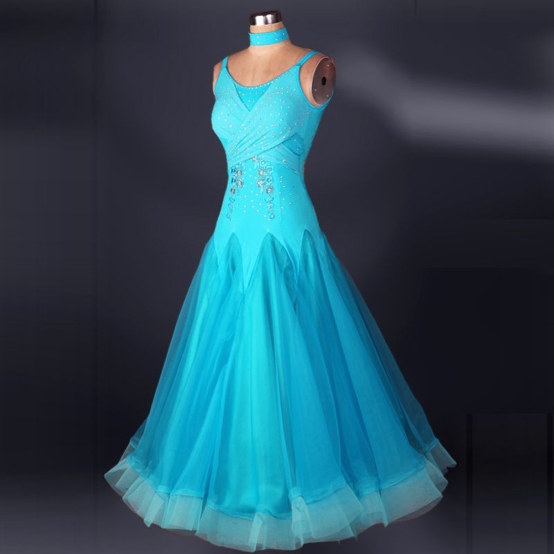 Sexy V-neck waltz dress standard dresses blue yellow red sleeveless ballroom dance competition dresses tango-skirt