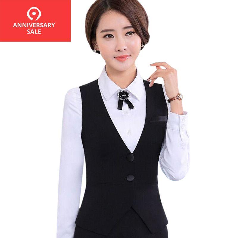 2019 automne affaires carrière dames gilet travail porter uniformes Slim col en v robes formelles femmes bureau gilets noir grande taille S-4XL