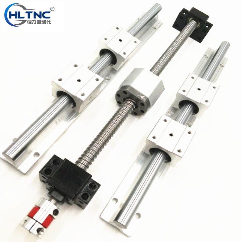 3 SBR16 linear guideway Rail +3 ball screws RM1605+3BK/BF12 + nut housing + couplers for CNC router/Milling Machine