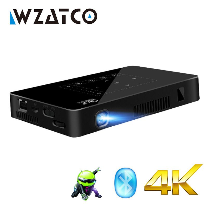 WZATCO P10 Android 2G16G WIFI Bluetooth with Battery full HD 1080P 4K Mini Projector Smart Home Theater Pocket LED Proyector UF