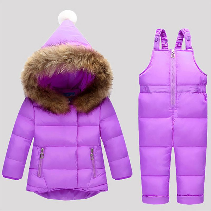 Russia Winter Children Clothing Sets Jumpsuit Snow Jackets+bib Pant <font><b>2pcs</b></font> Set Baby Boy Girls Duck Down Coats Jacket With Fur Hood