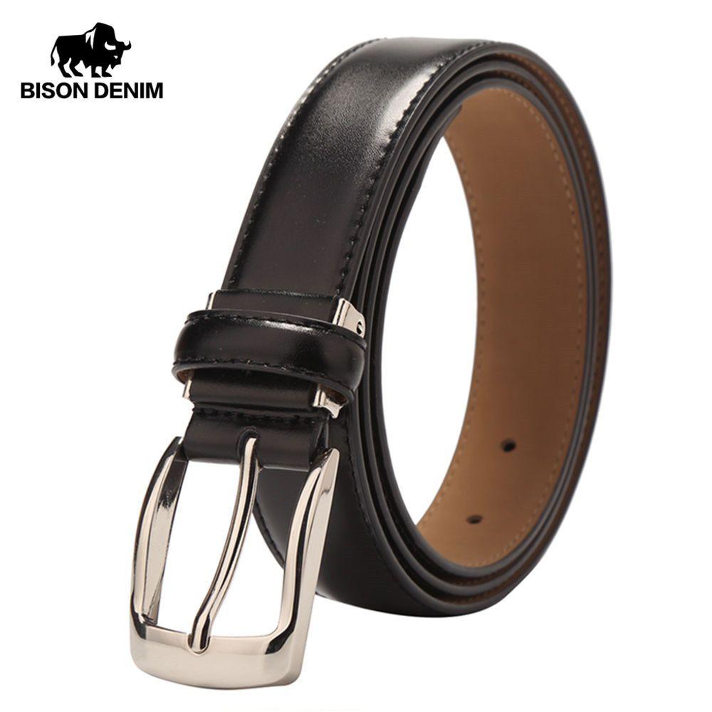BISON DENIM haute qualité en cuir de vache ceinture pour hommes sangle d'affaires hommes ceinture en peau de vache ceinture décontractée cadeau W71122