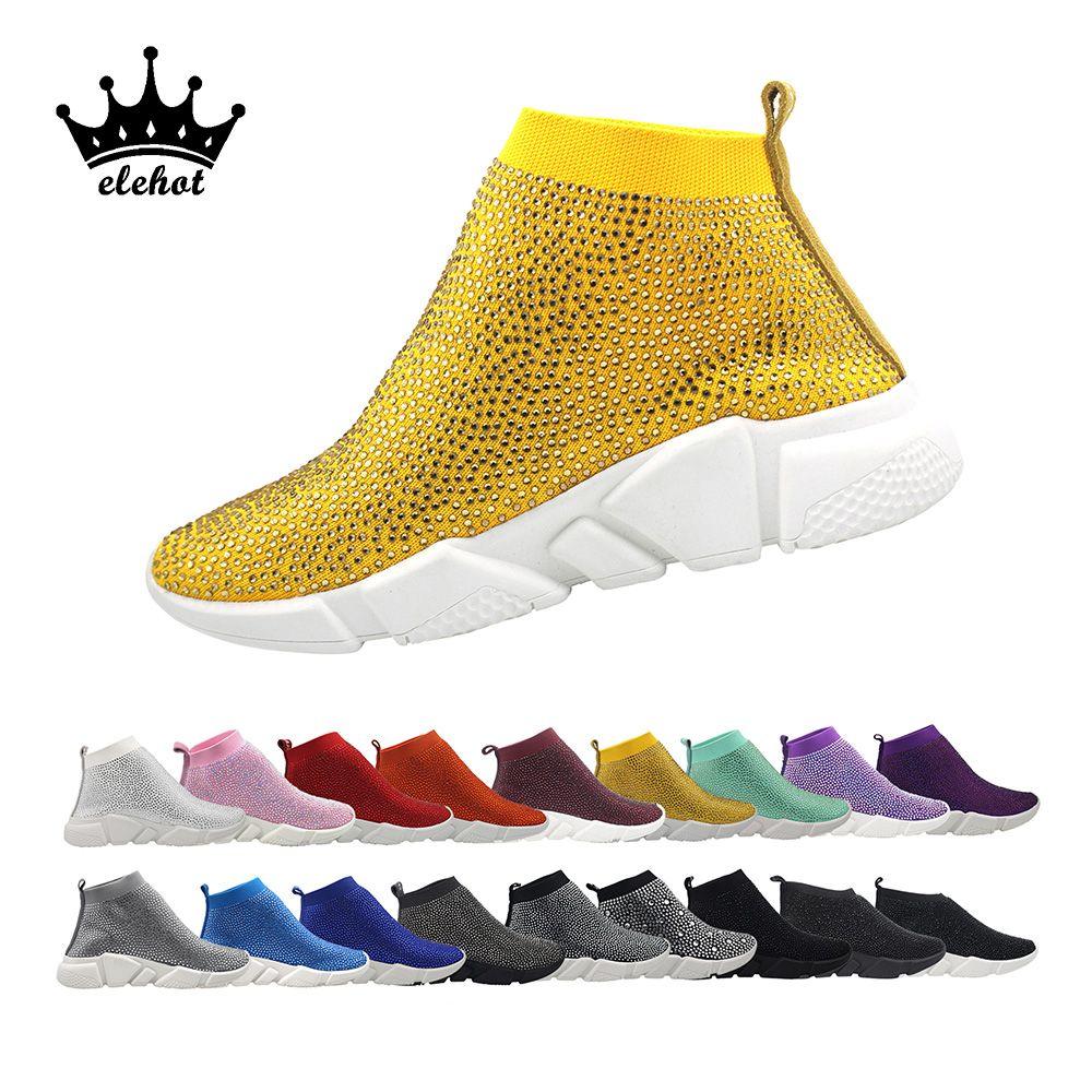 Bling Turnschuhe Strass Schuh Kristall Socke Stiefel frauen Vulkanisieren Schuhe Luxus Casual Frau 2019 Drop verschiffen Damen Sneaker