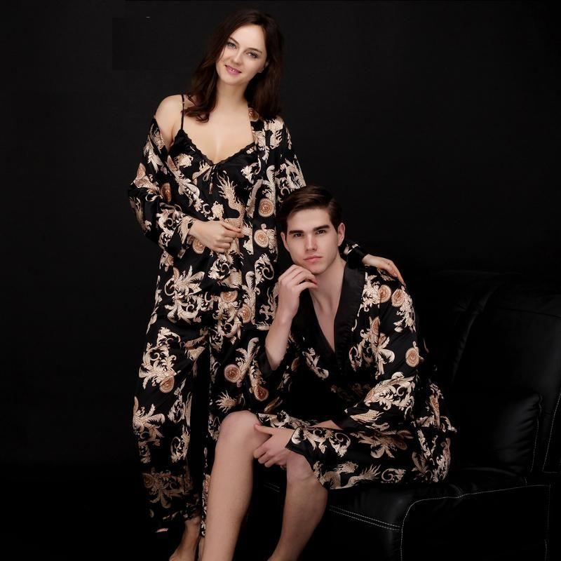 Verano Delgado señoras pijama tres piezas pantalones vestido dragón robe ropa hogar señora pareja