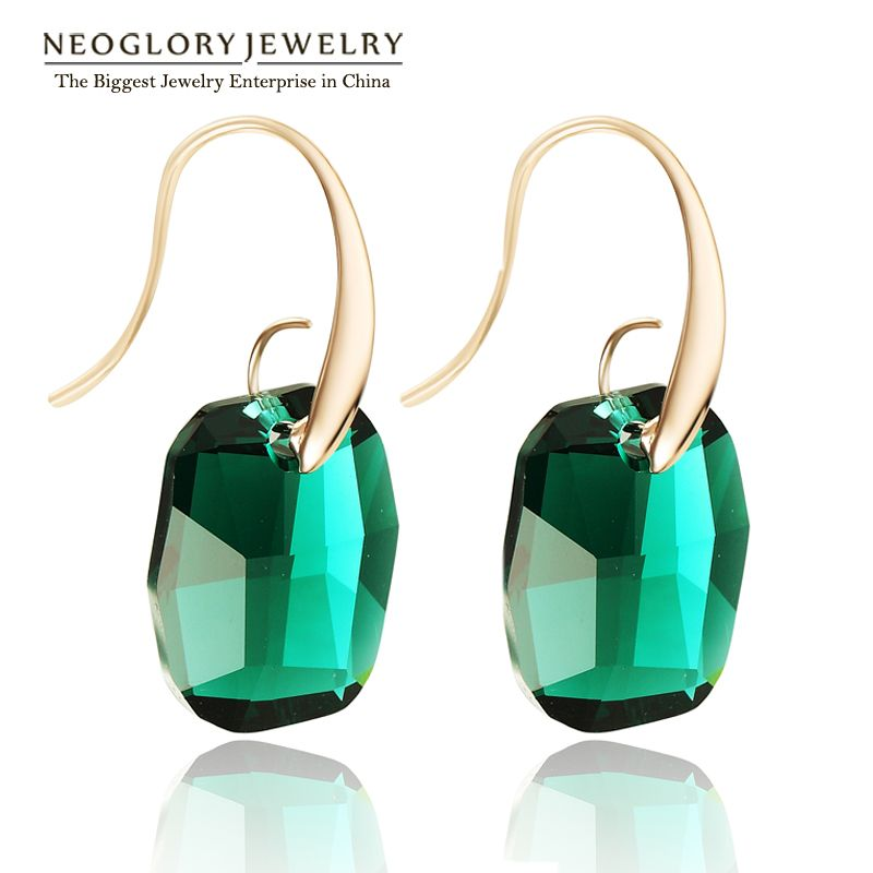 Neoglory Light Yellow Gold Color Austrian Crystal Big Chandelier Drop Earrings for Women 2017 New Indian Style Green Jewelry JS9